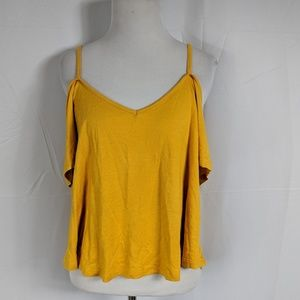 NWT Charlotte Russe Mustard Cold Shoulder Crop